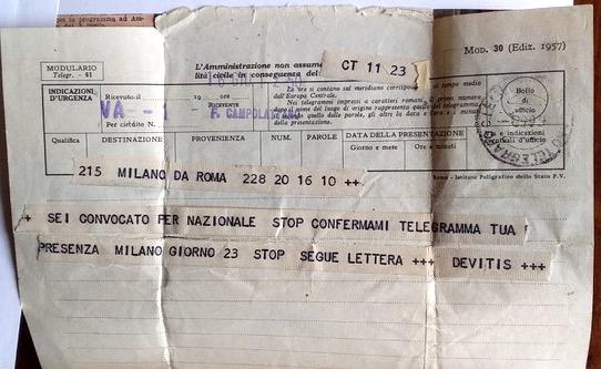 1958 Telegramma europei