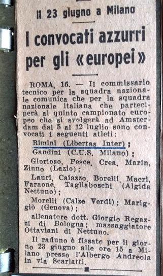 1958 Azzurri convocati Europeo