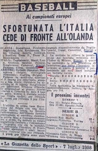 1958 Articolo Europei Baseball