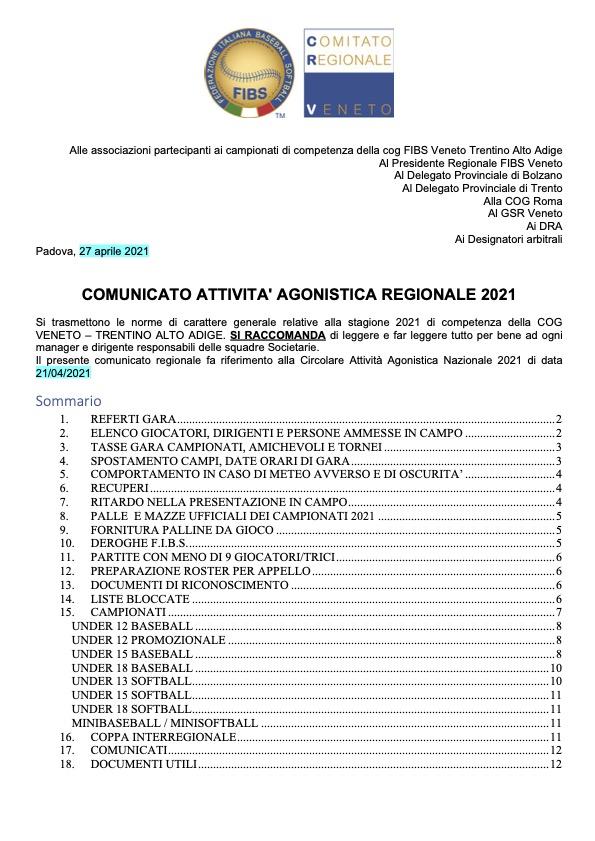 COMUNICATO ATTIVITA' AGONISTICA REGIONALE 2021